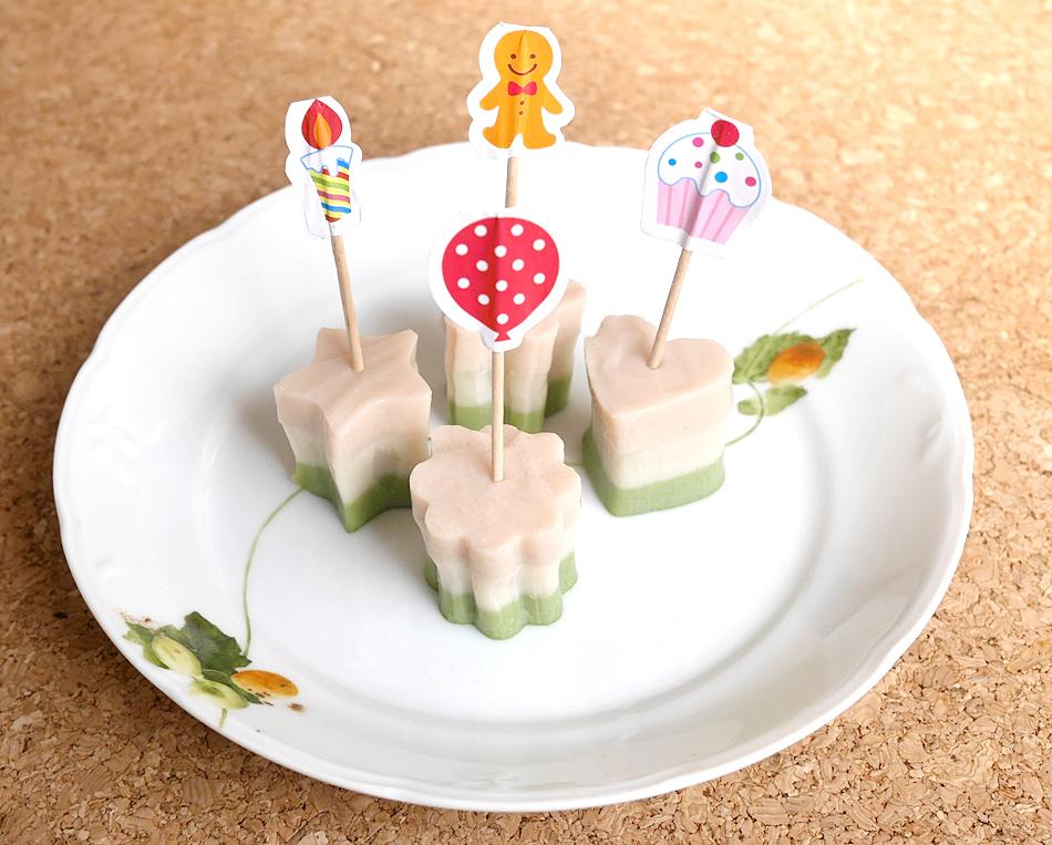 三色菱餅風 豆乳プリン